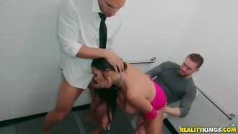 Bethany Benz gets laid with two males at the office