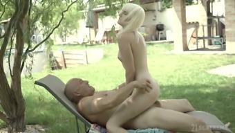 Seductive young blonde Miss Melissa invites old far to penetrate her deep throat and wet pussy