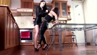 Lesbian hard fuck in the kitchen is a fantasy of Cristine Akira Lee