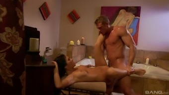 Strong dude destroys wet and shaved Asa Akira's pussy with his dick