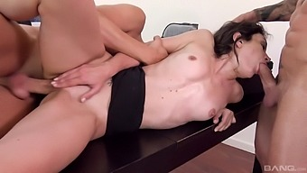 Threesome anal sex at work for sensual Valentina Bianco