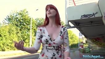 Public Agent Dirty hot American redhead beauty Alex Harper