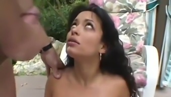 Slutty Latina Heads Outdoors To Give Head To A Threesome Of