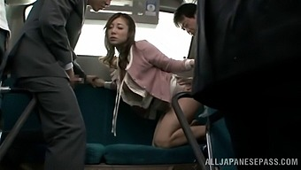 Sexy Asian babe with a hairy pussy enjoying a hardcore MMF threesome on a bus