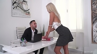 Gorgeous blonde Angelika Grays gets double penetrated by two studs