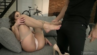 Canadian babe Alyssa Reece gives a good footjob and gets her slit nailed