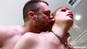Nasty maid River Enza punish fucked and fed cum on a spoon