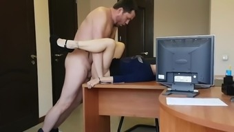 Real Secretary fucks and cums on big dick of her boss at the office table