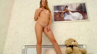 Solo pussy toying with cute blonde teen slut