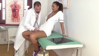 Naughty nurse Alexis Brill fucks with a doctor and gets cum