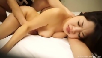 Petite Japanese brunette MILF Barbara gets her hairy pussy pounded