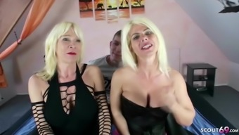GERMAN STEP MOM and AUNT THREESOME to his 18 Birthday