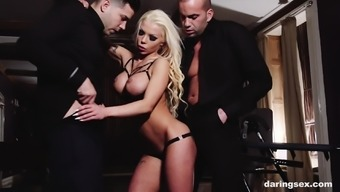 Inked mature blonde whore Barbie Sins fucked and throated by two men