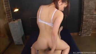 Gorgeous Japanese brunette Rui Hasegawa rides cock with her round ass