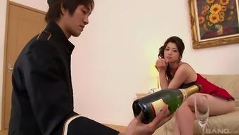 Slender Japanese slut sprayed with cum in a MMF threesome