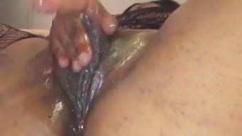 Wet cunt with huge clit