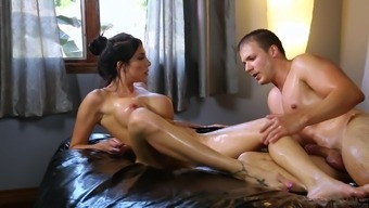 Jaclyn Taylor rides a stiff dick while he spanks her firm ass