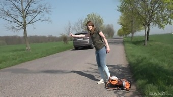 Blonde teen Kizzy Sixx picked up and pounded in a car