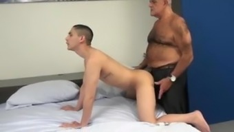 Hariy Silver Grandpa fucking twink with a cone dick