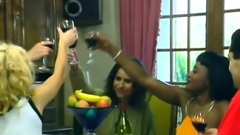 African babes banged in restaurant by white boner