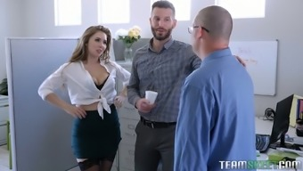 Sultry office babe Lena Paul hooks up with one of her co-workers