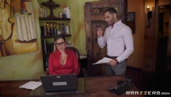 Secretary Karmen Karma seduces her boss into dousing her with cum