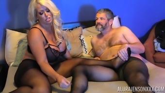 Buxom blonde MILF Alura Jenson gets cum on pantyhose after a fuck