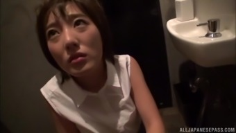 Public bathroom blowjob with short haired Japanese Sawamura Nagisa