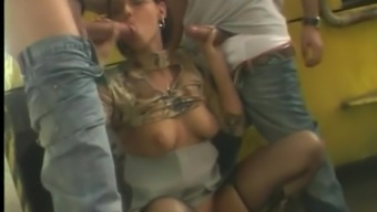 Extraordinary cowgirl gets banged with two naughty porn studs in anal action