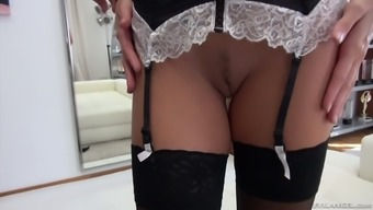 After flashing her flexibility slutty maid Clea Gaultier gives damn good BJ