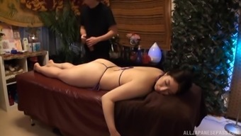 Oiled and horny girl is ready for massage and hard sex after that