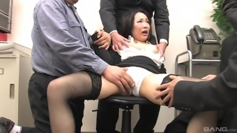 Horny and sweet Ai Mizushima enjoys blowjob with all her friends together