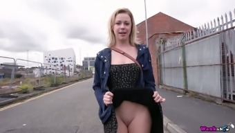 Shameless bitch Lucy Lauren flashes her pussy and tits on first date