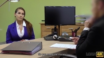 LOAN4K. Long-haired chick wants to earn money so why undress