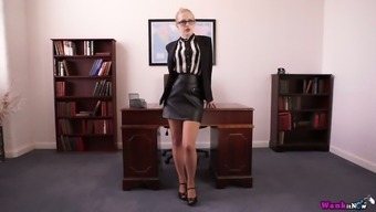 Blonde in glasses Lucy Lume gets naked in the office for the first time