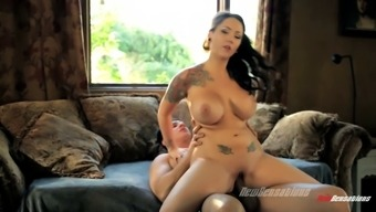 Ashton Pierce's monster tits bounce as she grinds on his cock