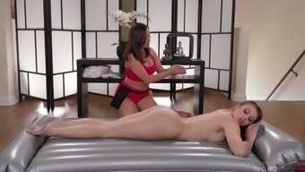 Young masseuse can't resist licking and finger fucking delicious slit of Gia Derza