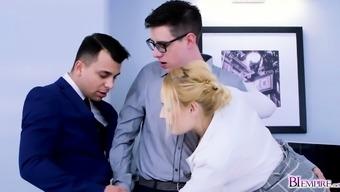 Hot secretary and co worker thressome fucks Steven