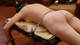 Hard spanking, firecupping and fuckmachine