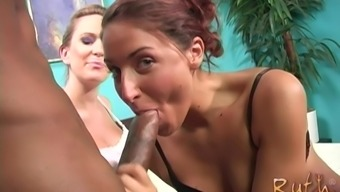 Pregnant Ruth Blackwell shares a black dick with Jayma Reed