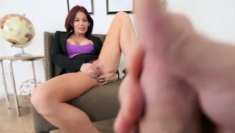 Classy mature stepmom masturbating in front of stepson
