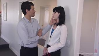 Xander Corvus enjoys hard fuck with her handsome boyfriend on the bed