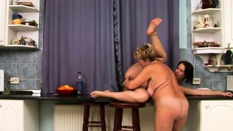 Lesbo granny pussylicking busty babe