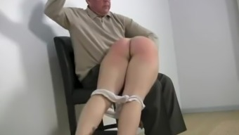 Cheerleader is spanked by her father for lying and direspectful behavior