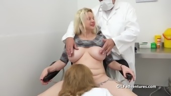 Blonde patient gets a pussy inspection from an older nurse