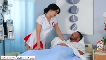 Italian nurse in sexy uniform Valentina Nappi hooks up with one of her patient