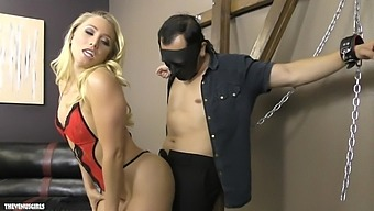 Blonde AJ Applegate wants to punish her lover with BDSM sex game