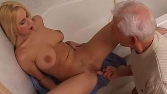 Grandpa fucking his cute busty granddaughter in bathroom