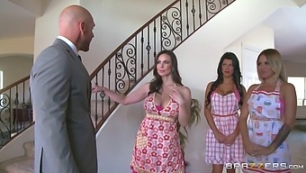 Three milf sluts exhaust the dude with a big cock in a foursome