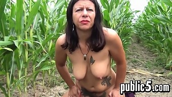 Tattooed Whore Outdoors At The Farm